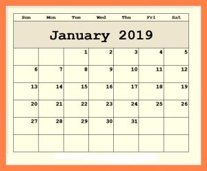 January 2019 Editable Wall Calendar