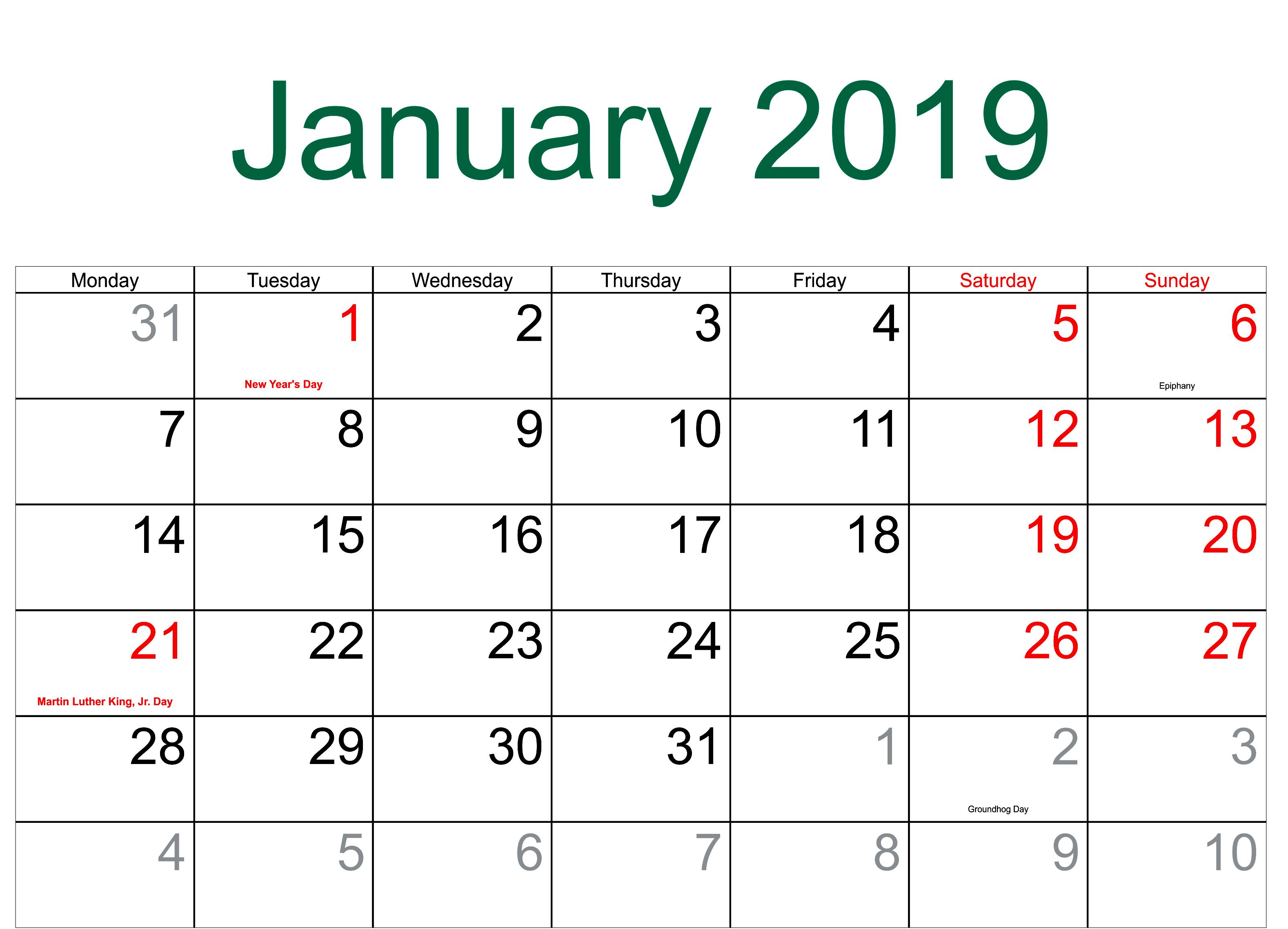 January 2019 Holidays Calendar