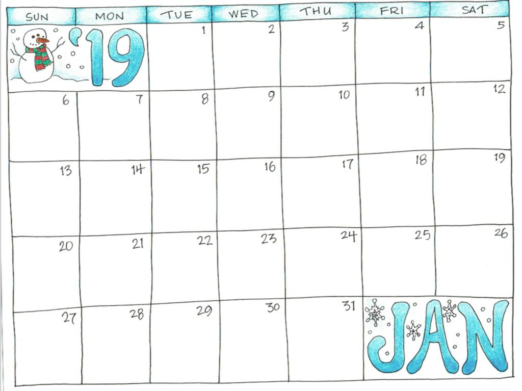 January 2019 Printable Calendar for Kids