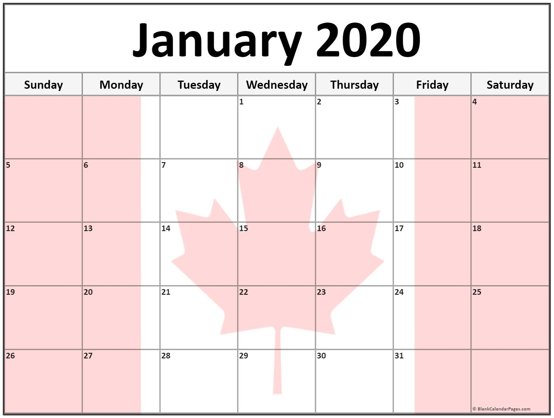 January 2020 Calendar Canada Holidays