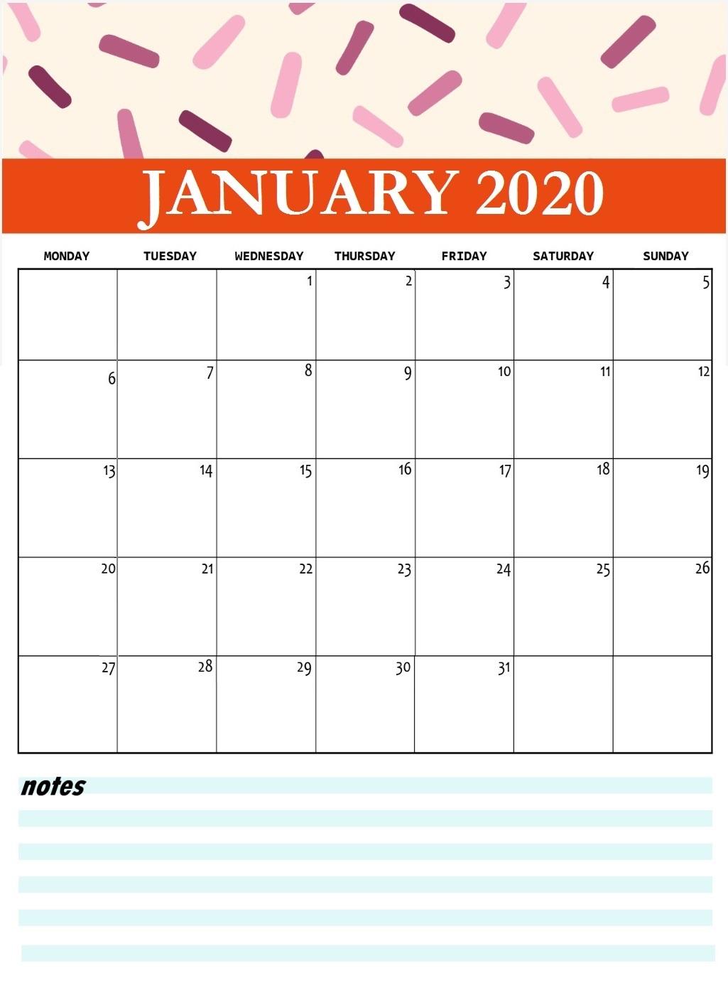 January 2020 Calendar Cute