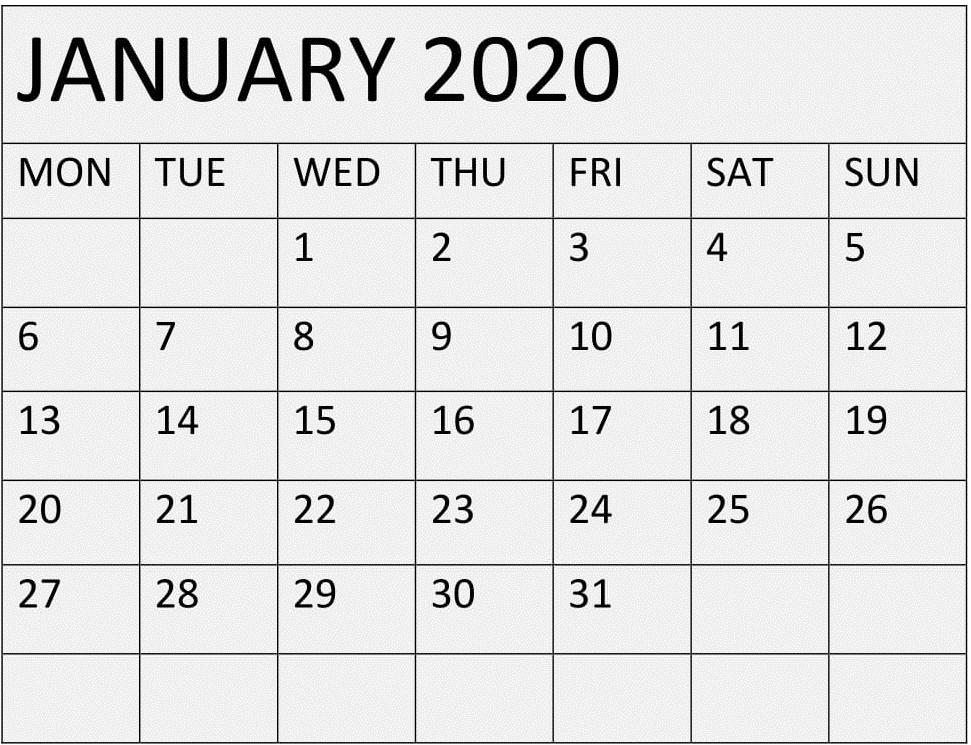 January 2020 Calendar Printable Template
