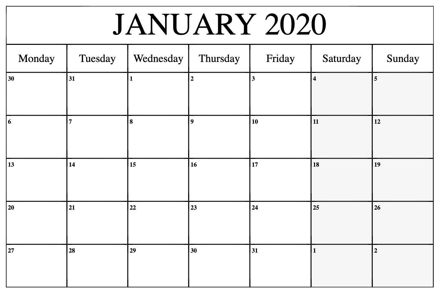 January 2020 Calendar Printable Templates