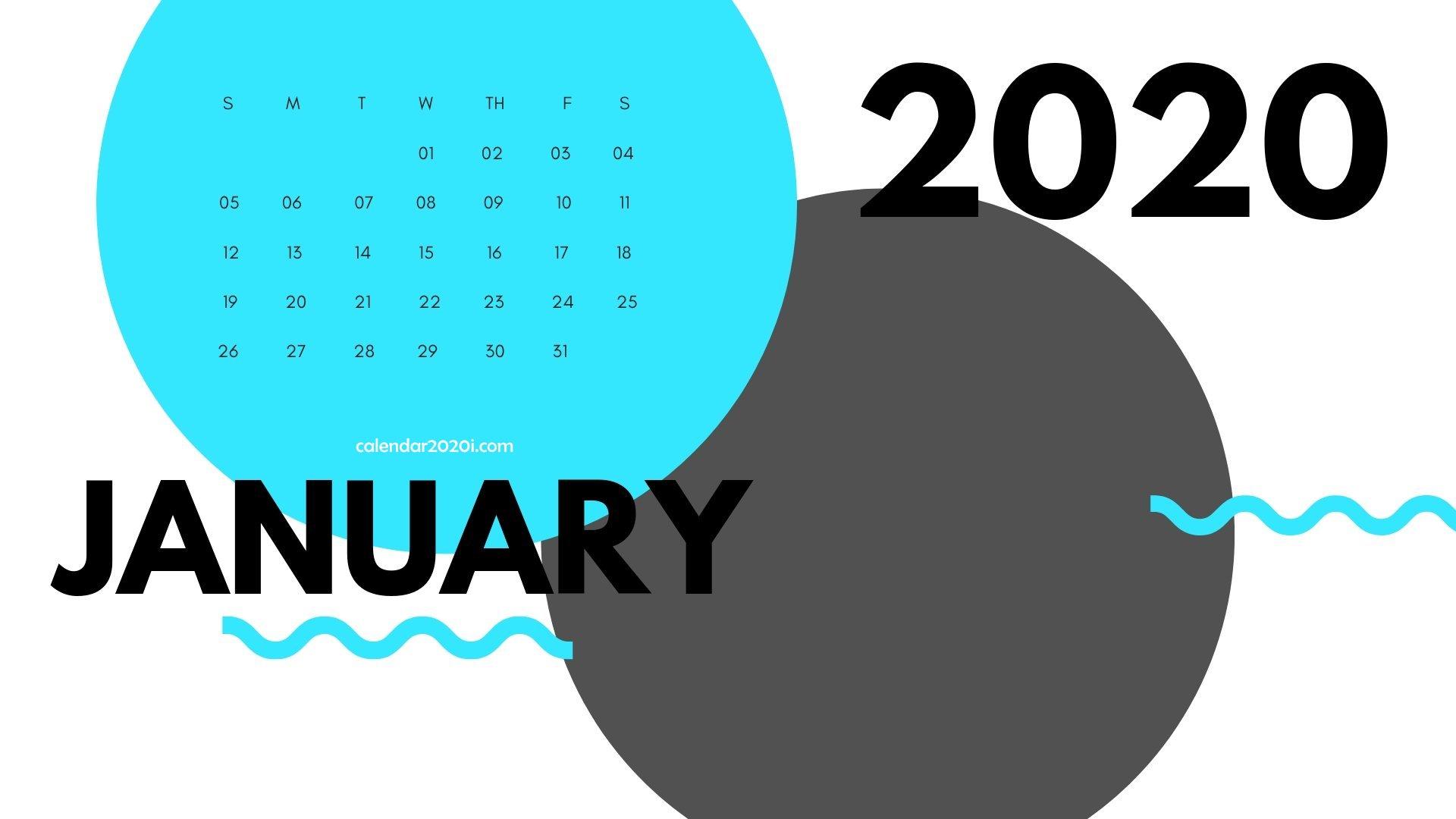 January 2020 Calendar Printable Wallpaper
