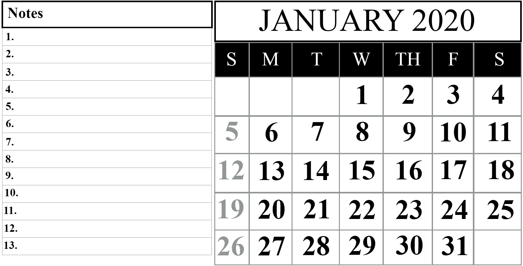 January 2020 Calendar with Notes
