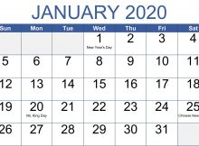January 2020 Indian Holidays Calendar