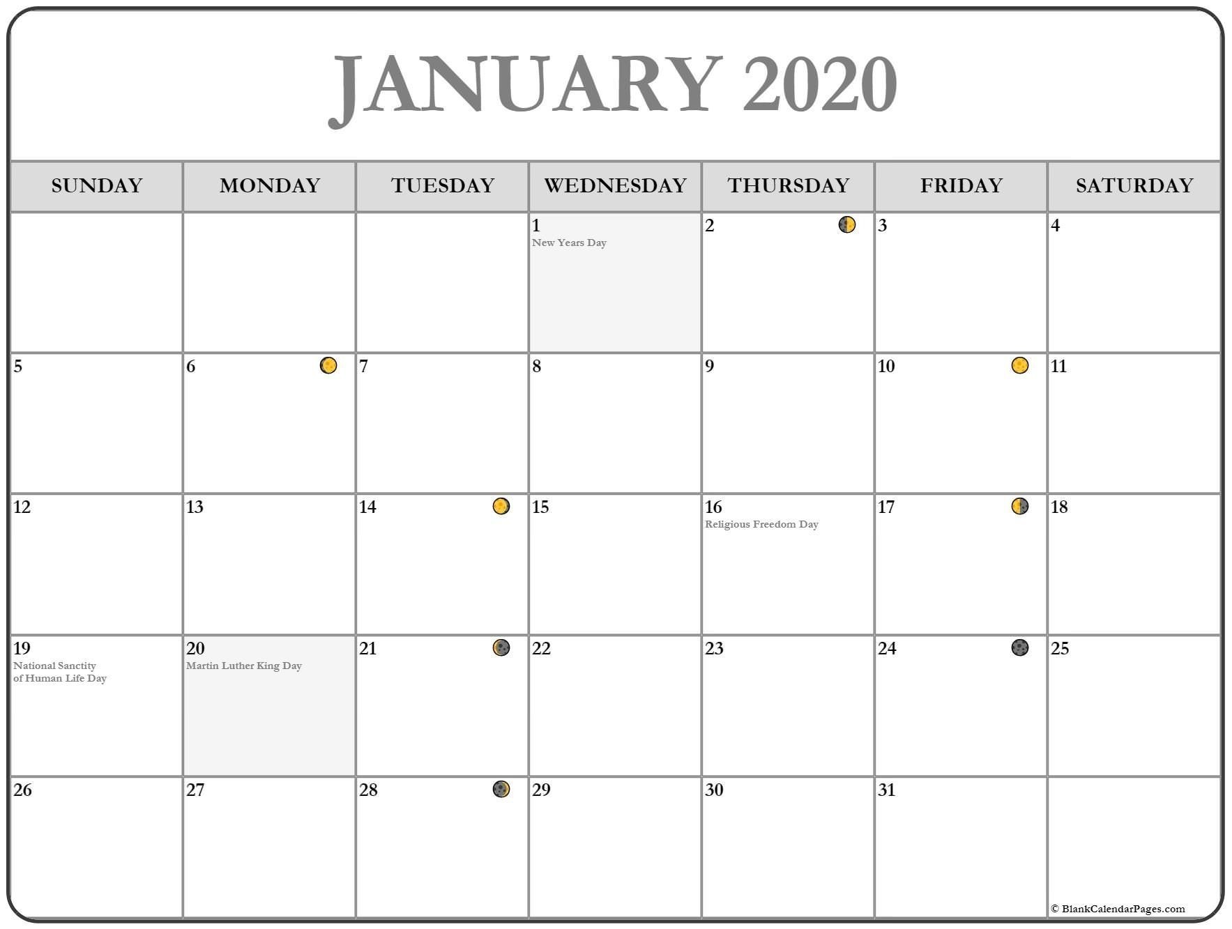 January 2020 Moon Calendar Template