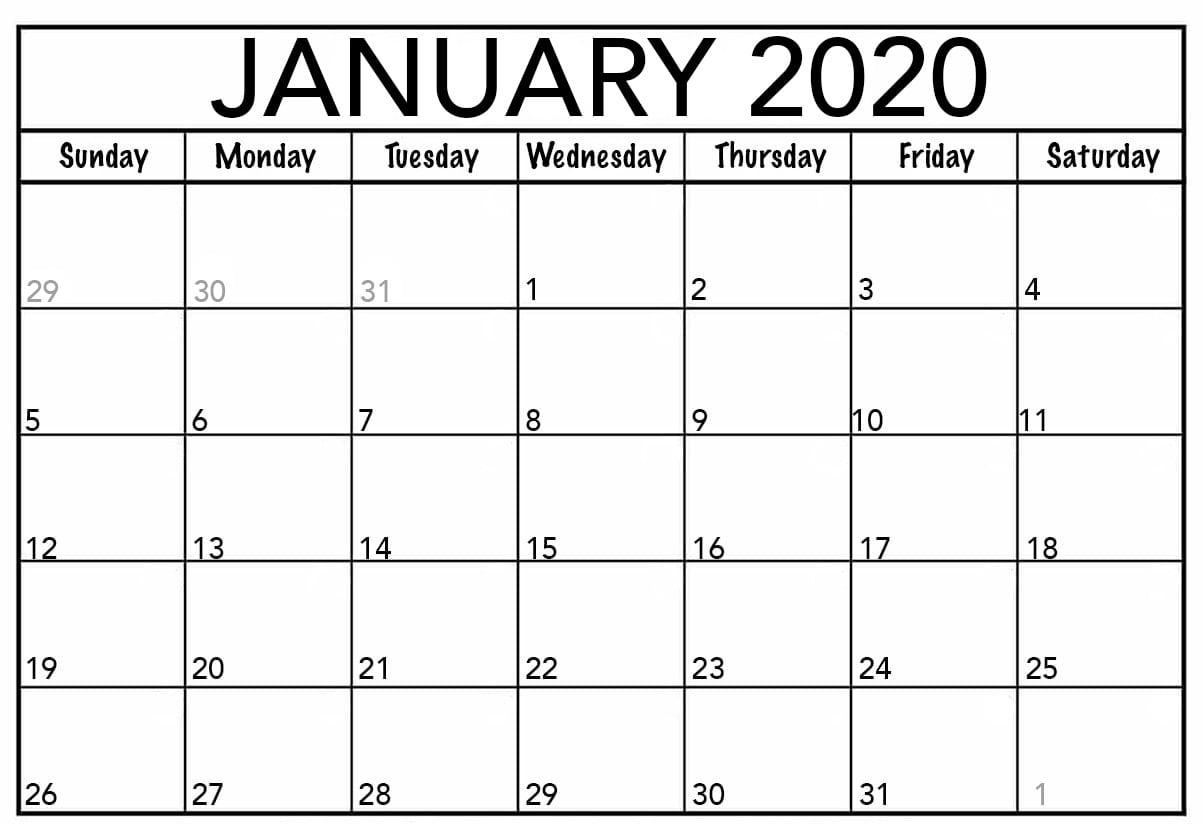 January 2020 Printable Calendar for Kids