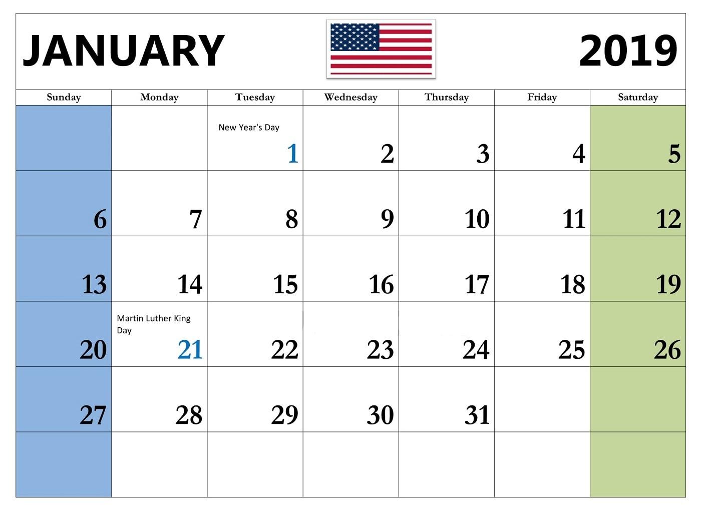 January Calendar 2019 With Holidays