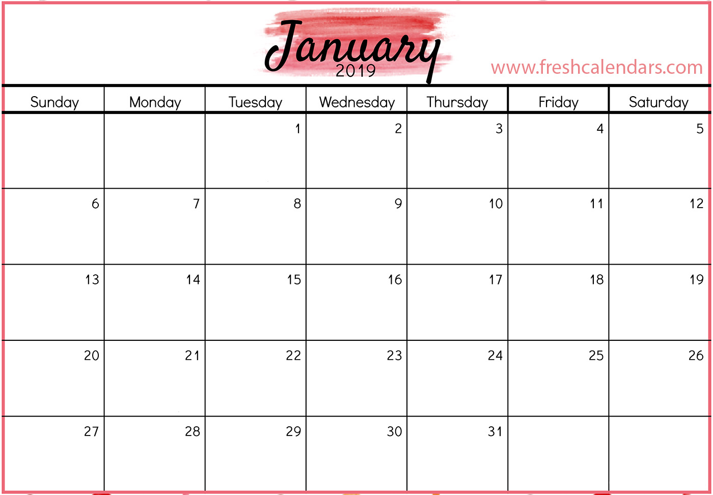 January Calendar 2019 Free Printable Calendar Templates And Holidays