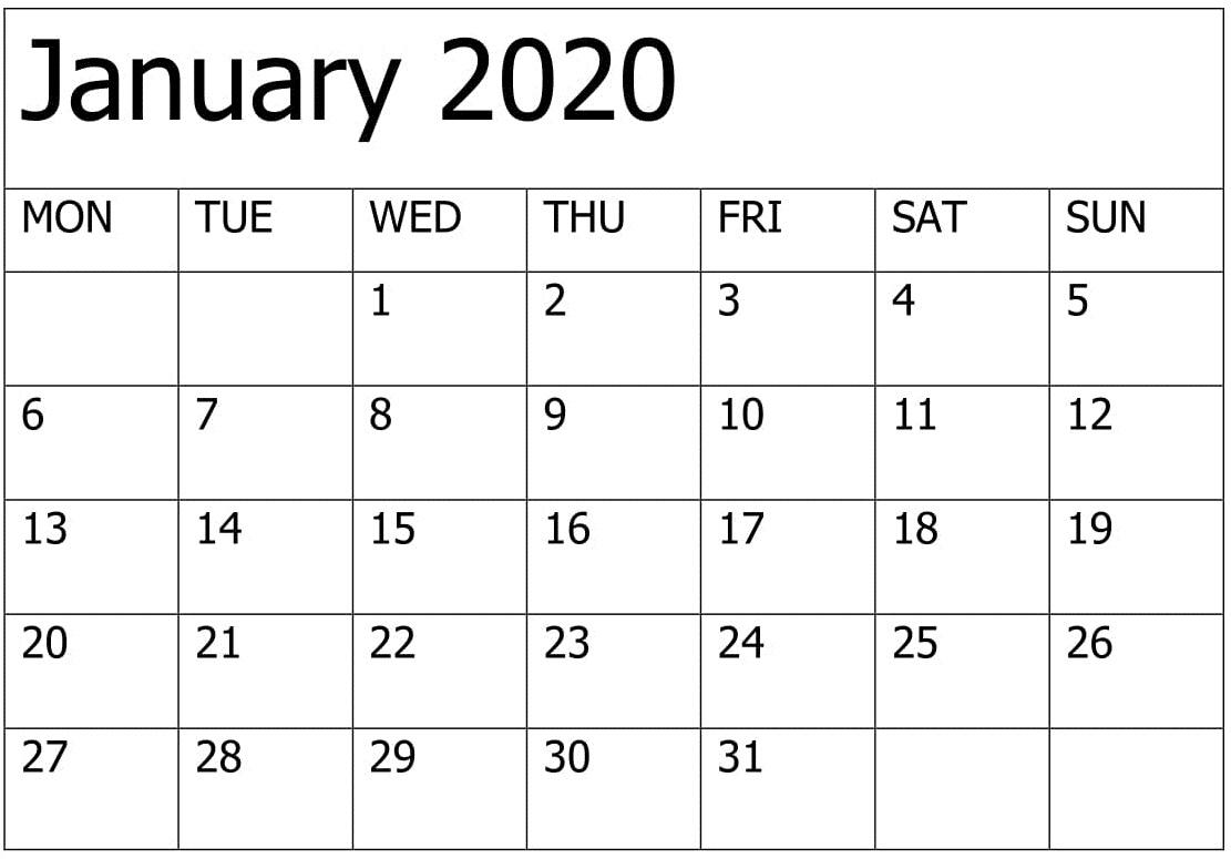 January Calendar 2020 Blank