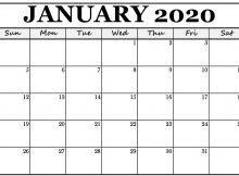 January Calendar 2020 Template