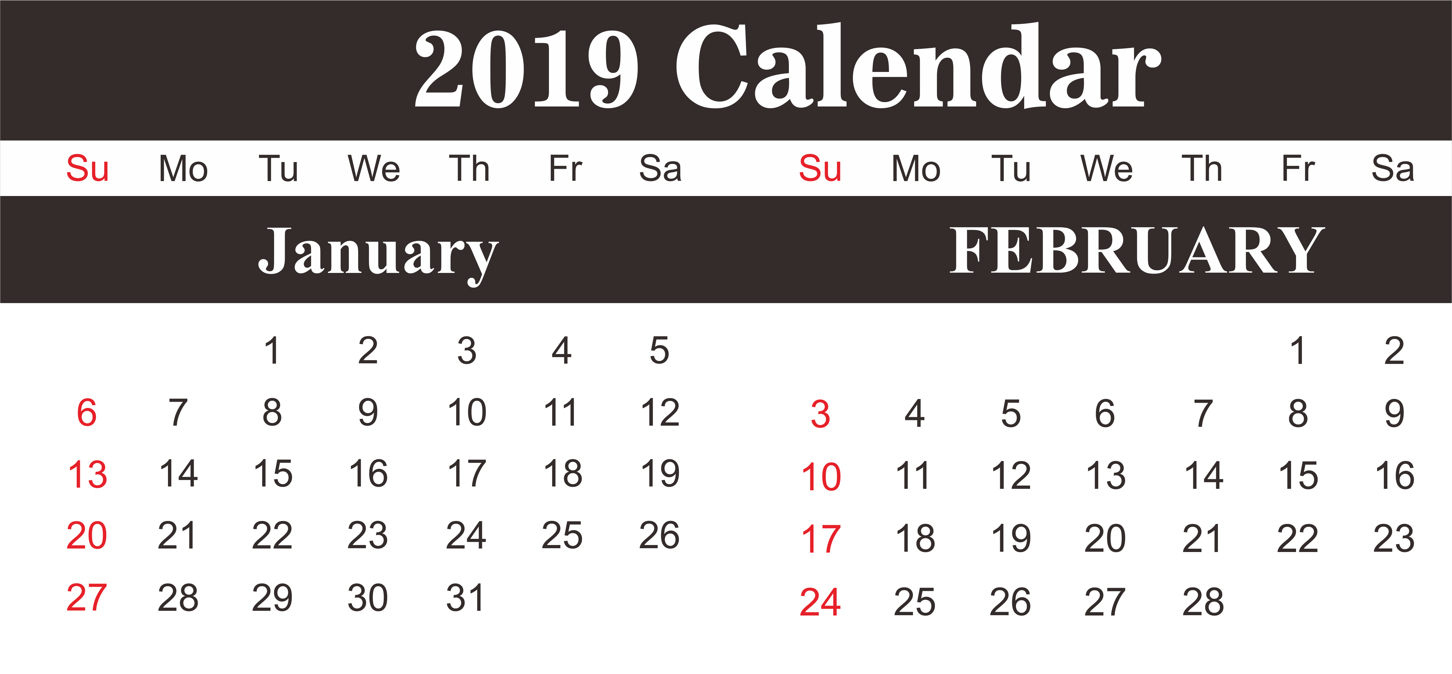 January February 2019 Calendar