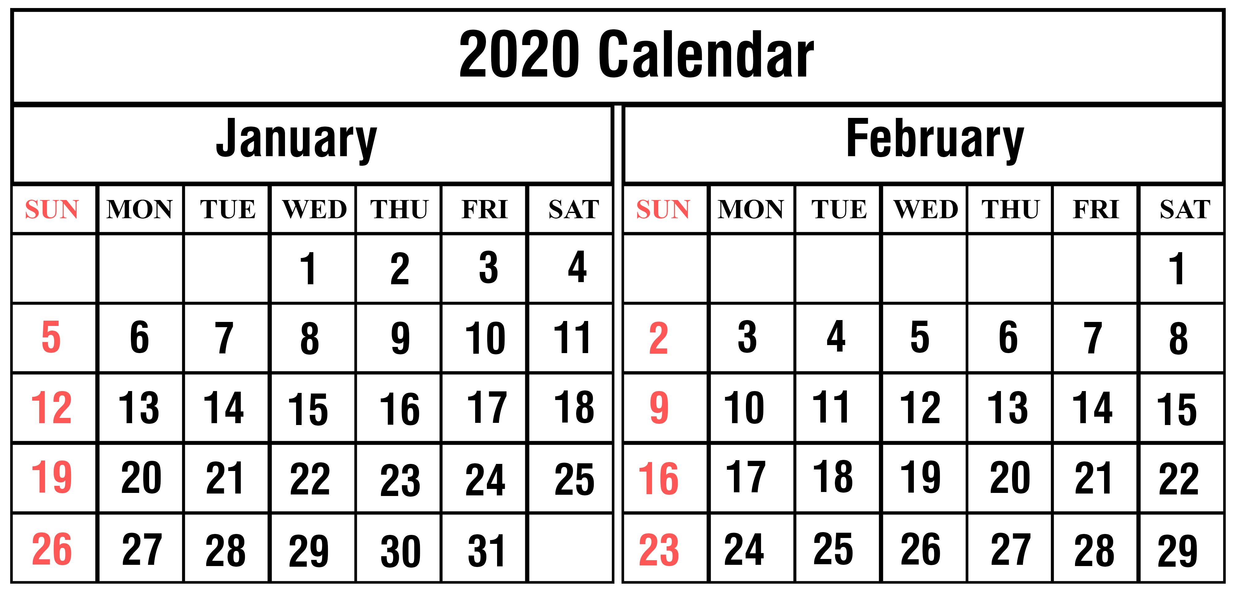 January February 2020 Calendar Template