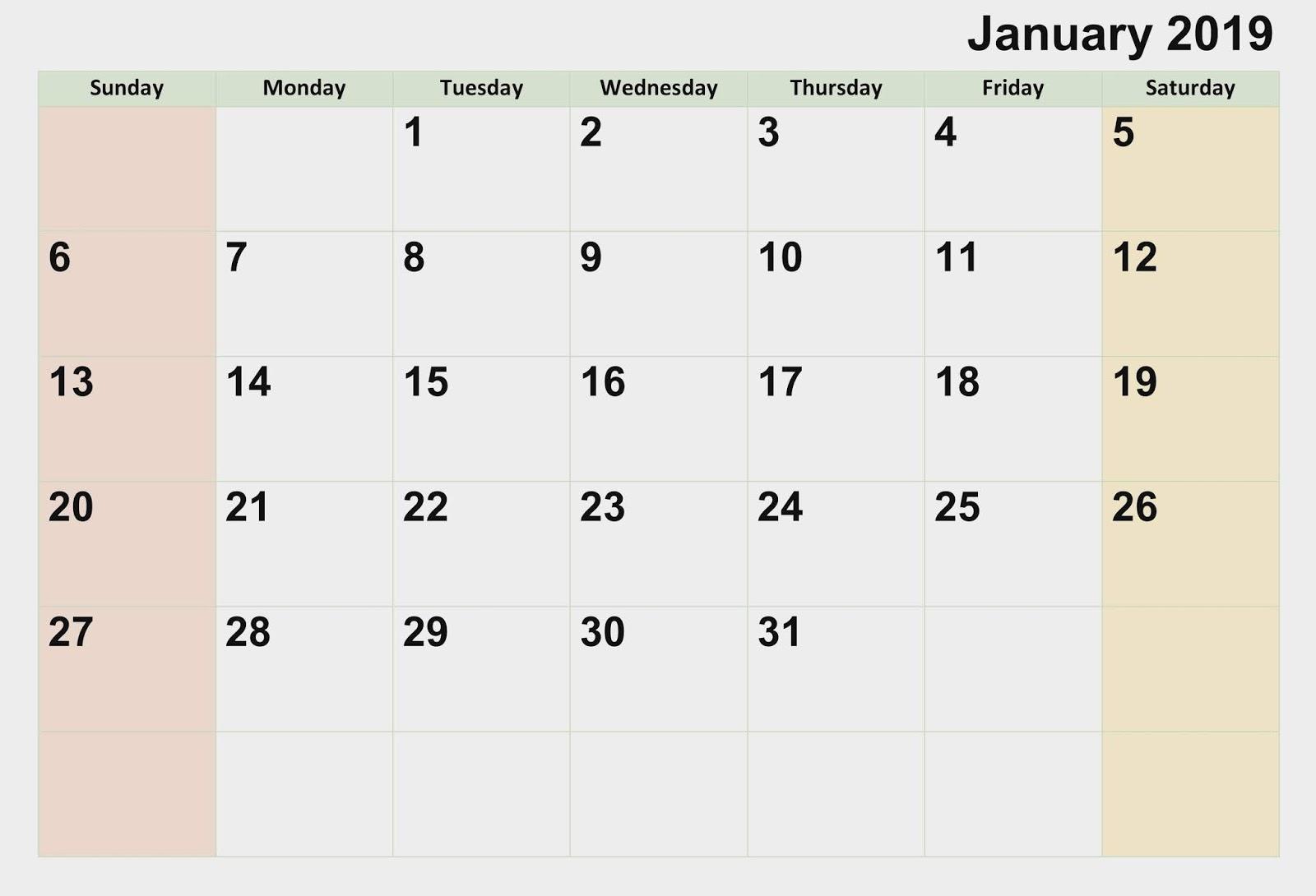 January Printable Calendar 2019