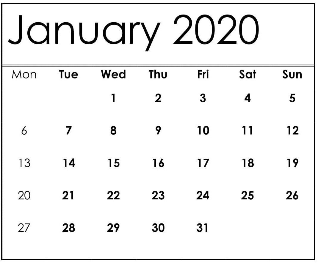January Printable Calendar 2020
