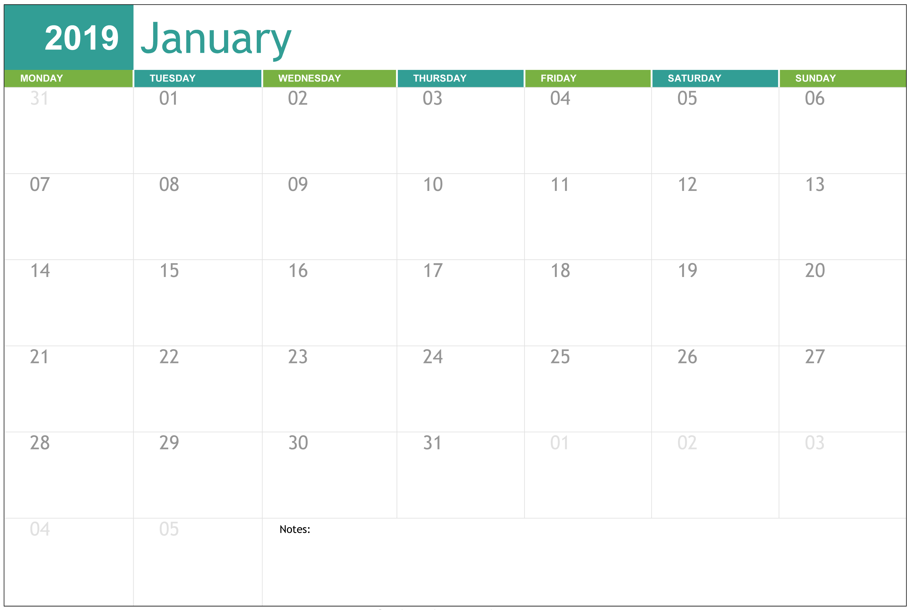 Monthly Calendar Template January 2019