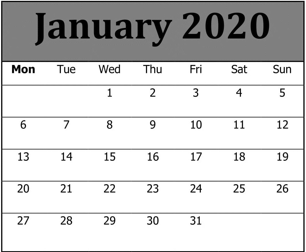 Monthly Calendar Template January 2020