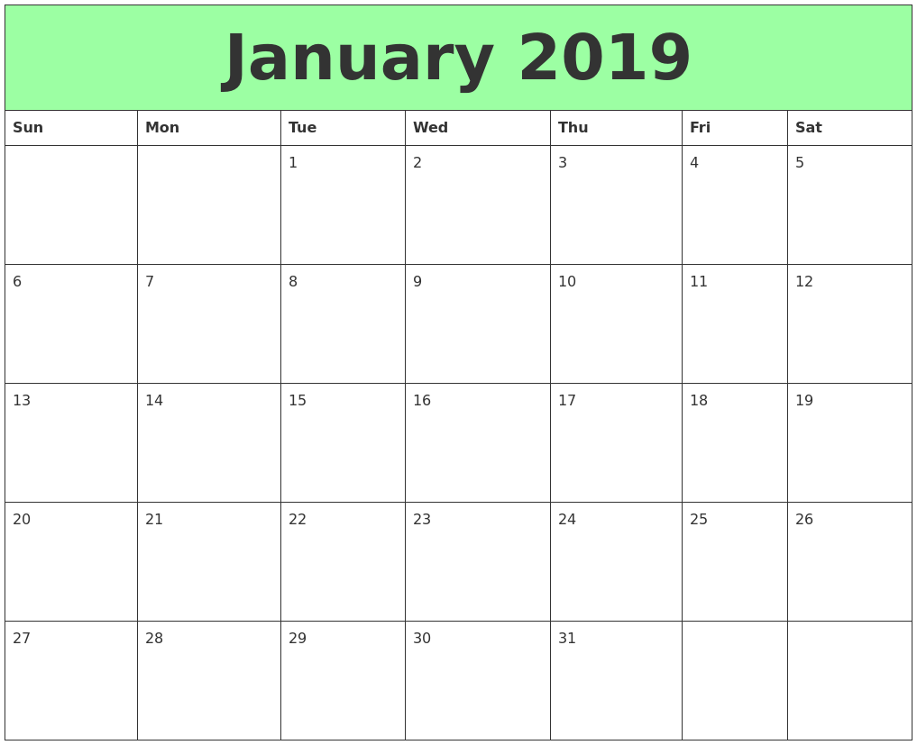 Monthly January 2019 Calendar Excel