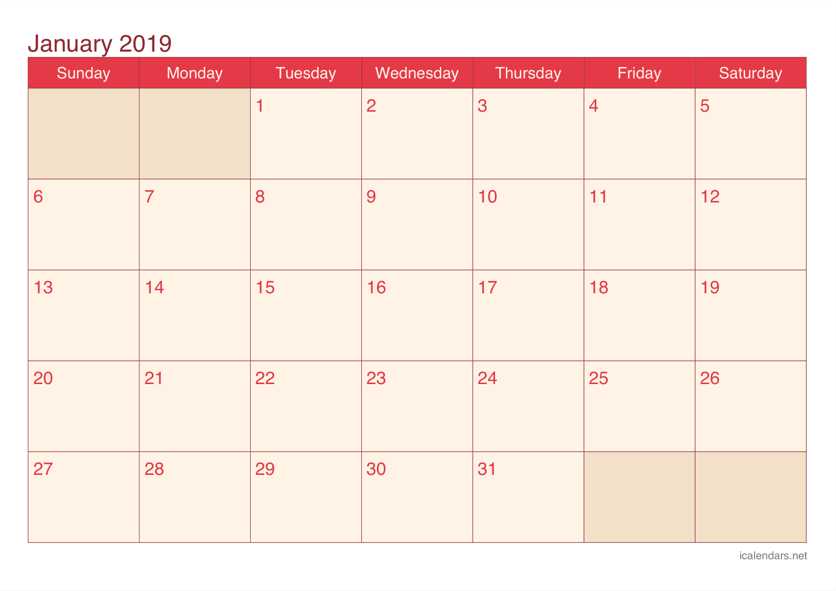 Monthly January 2019 Calendar Printable