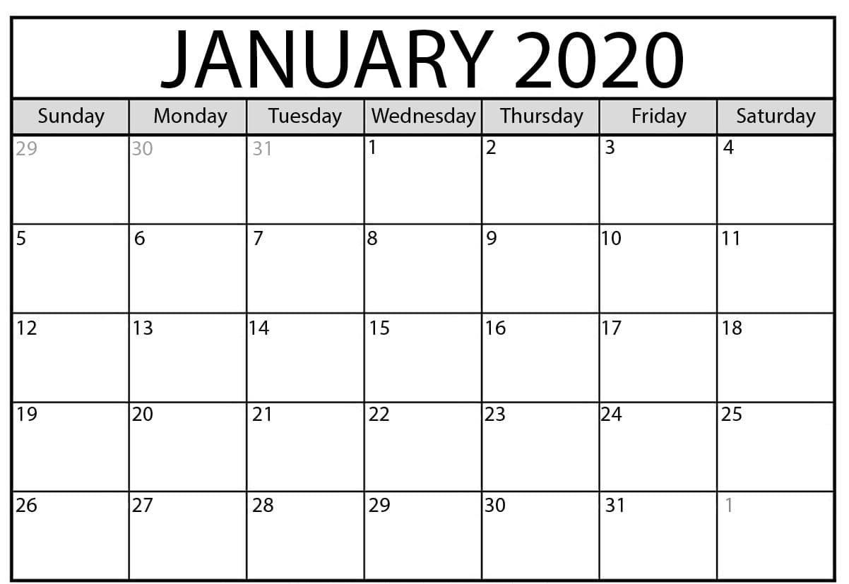 Print Blank Calendar January 2020