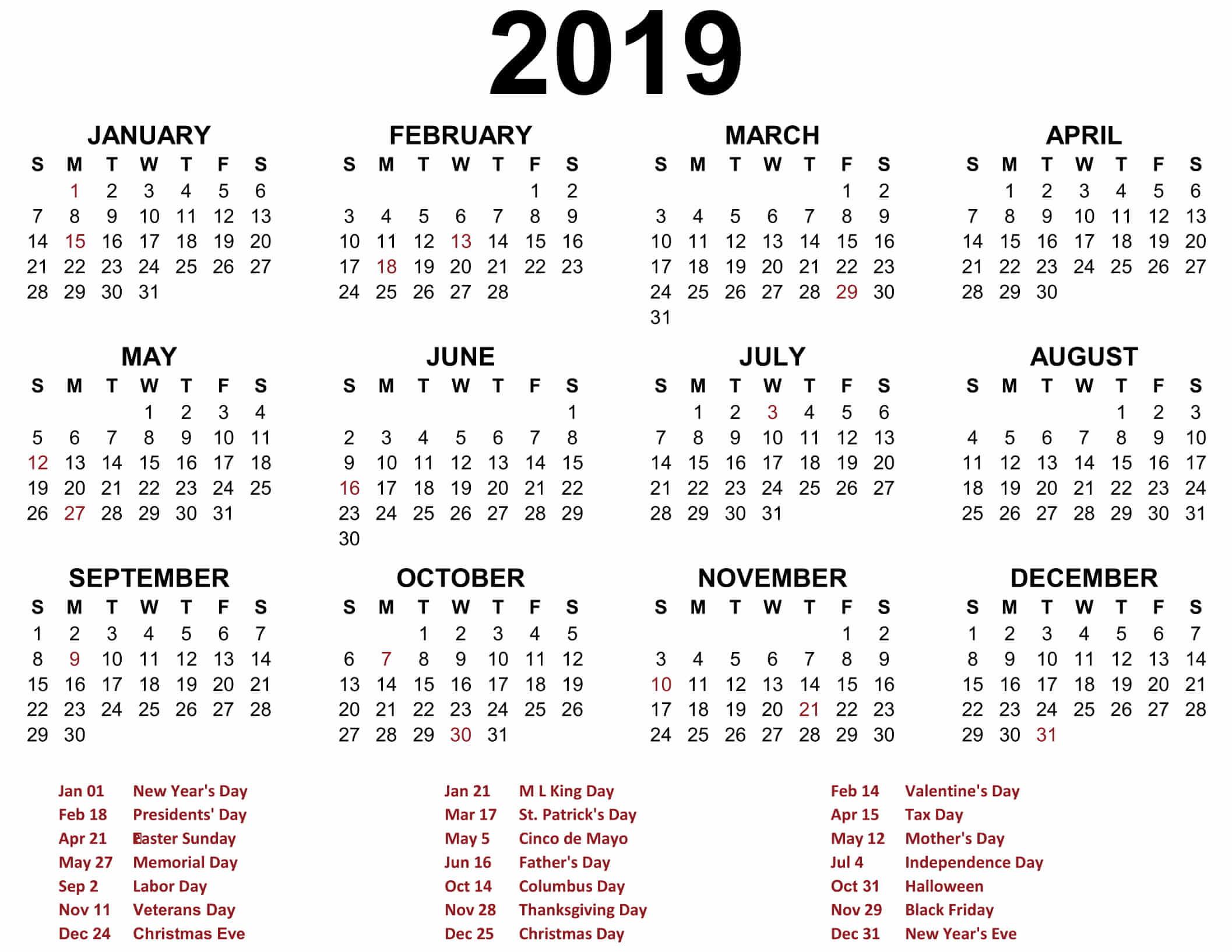 Printable 2019 Calendar Free Printable Calendar Templates And