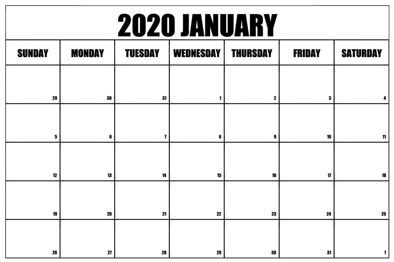 Printable Blank January 2020 Calendar