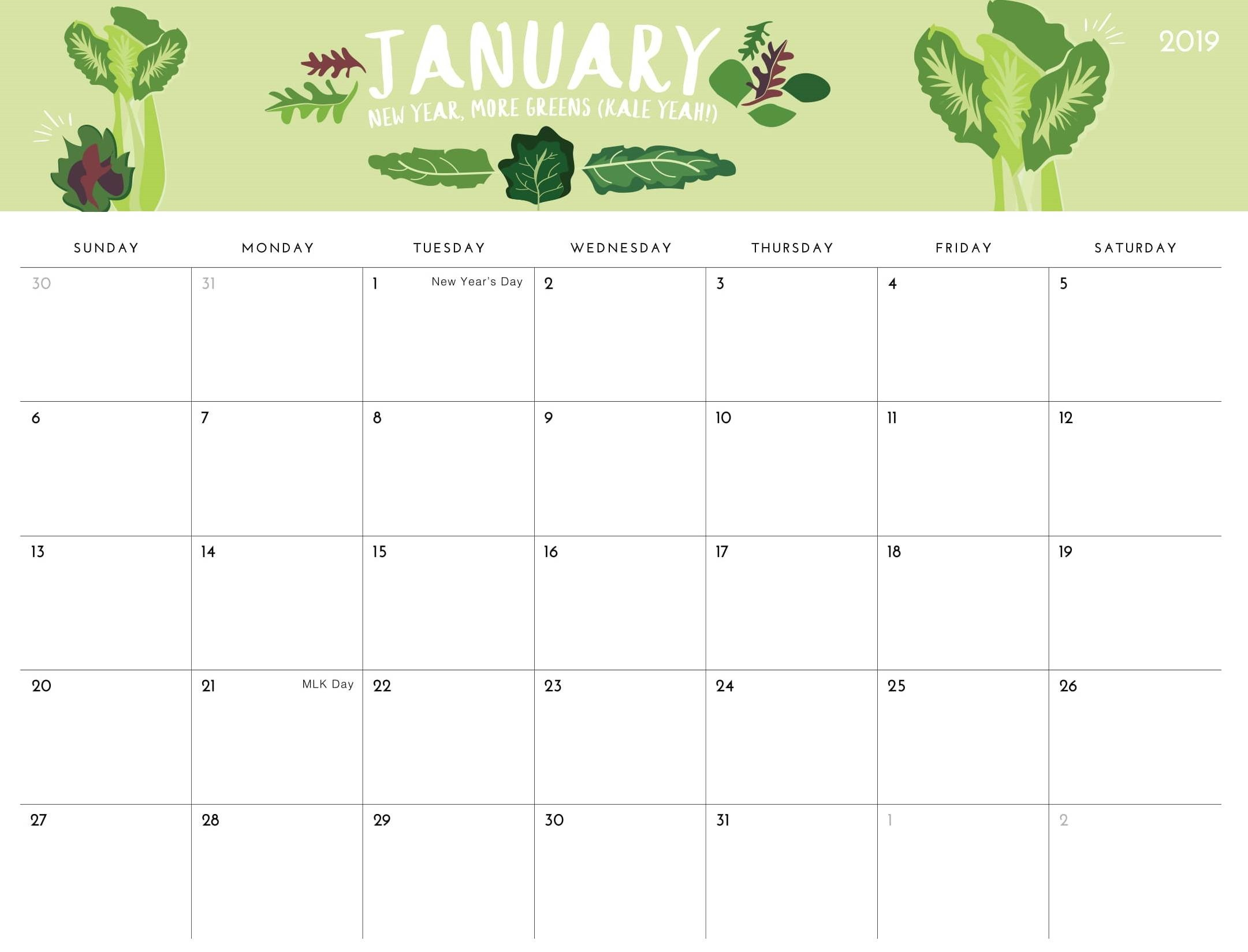 Printable January 2019 Calendar Cute