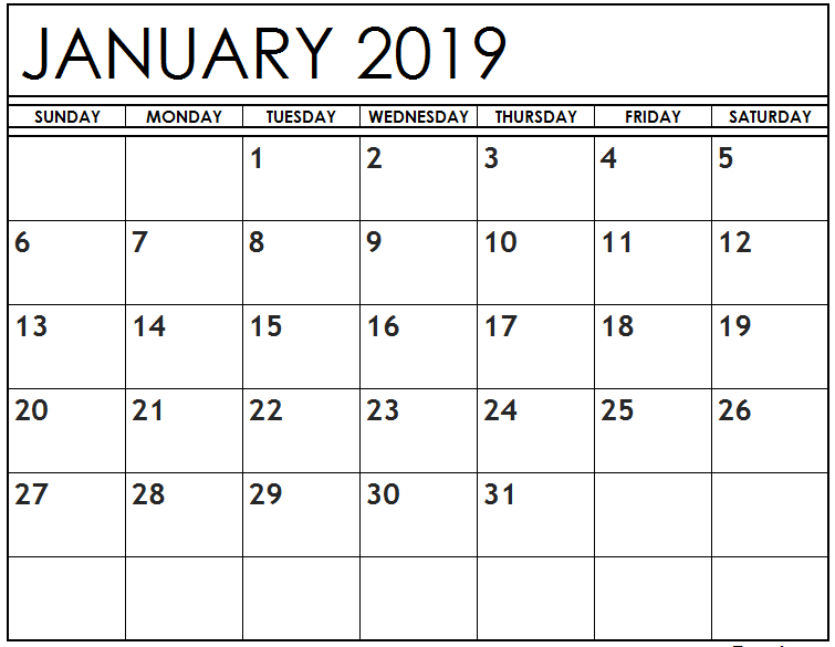 January 2019 Calendar Template Printable In Pdf Word Excel
