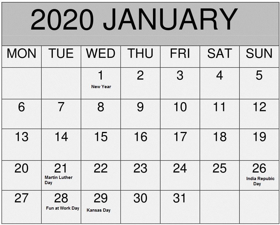 Printable January 2020 USA Holidays Calendar