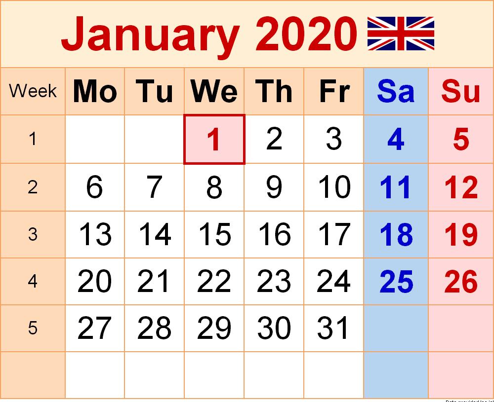 UK Holidays Calendar January 2020