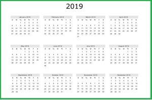 2019 Calendar Template Free Download