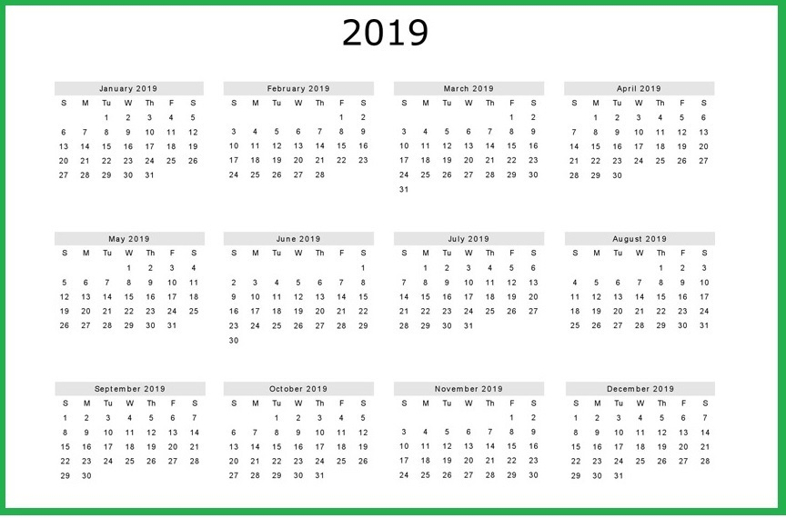 2019 Calendar Template Free Download
