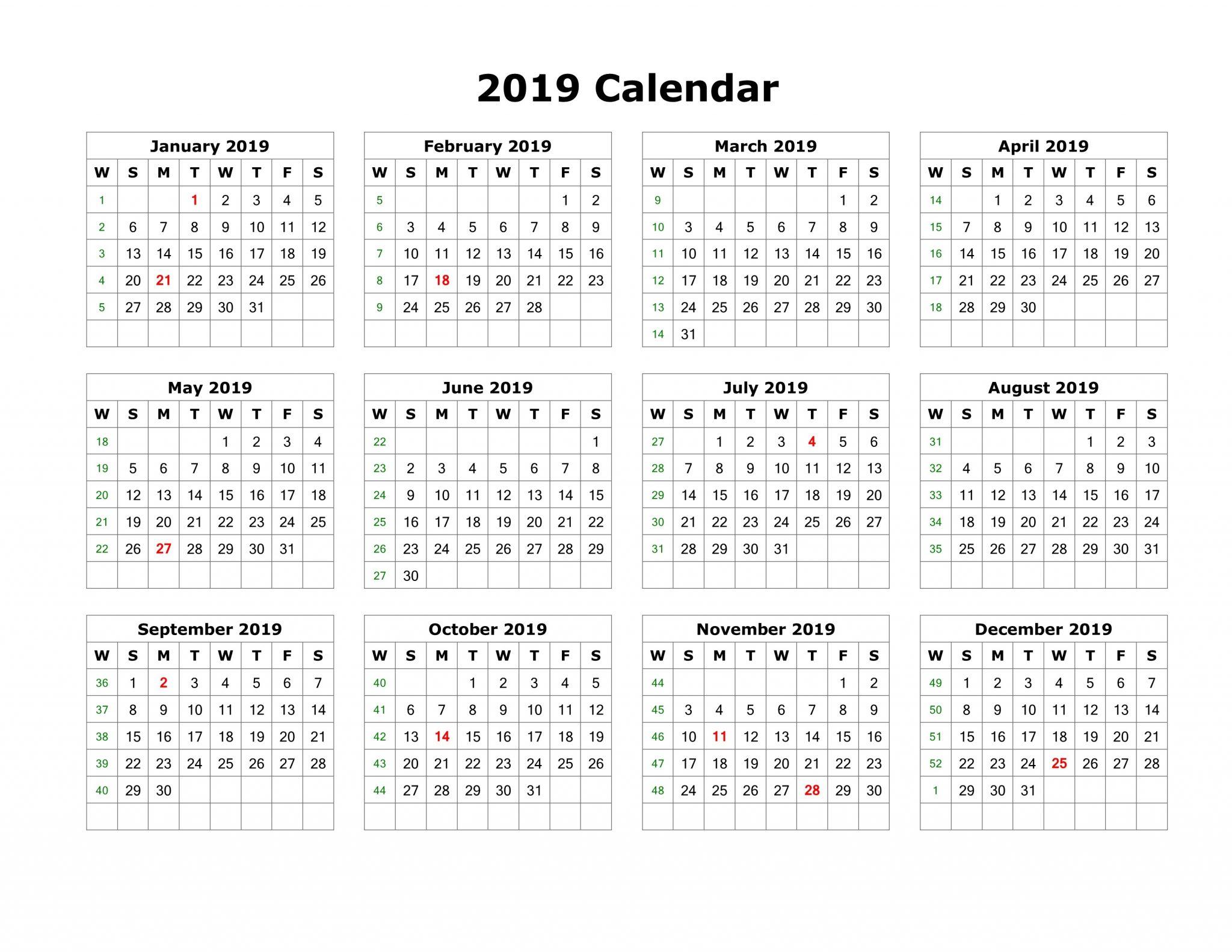 2019 Calendar Template PDF