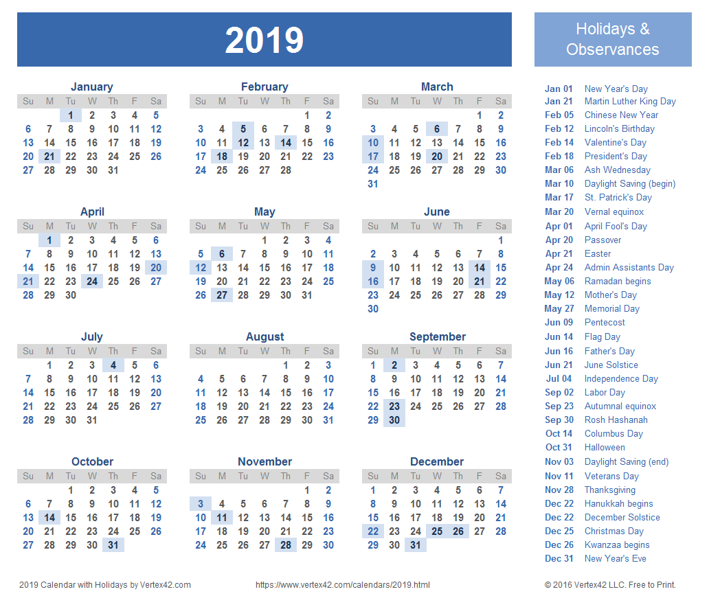 2019 Calendar Template With Holidays