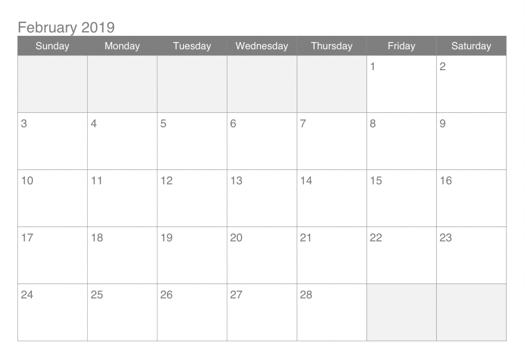 2019 February Calendar Template