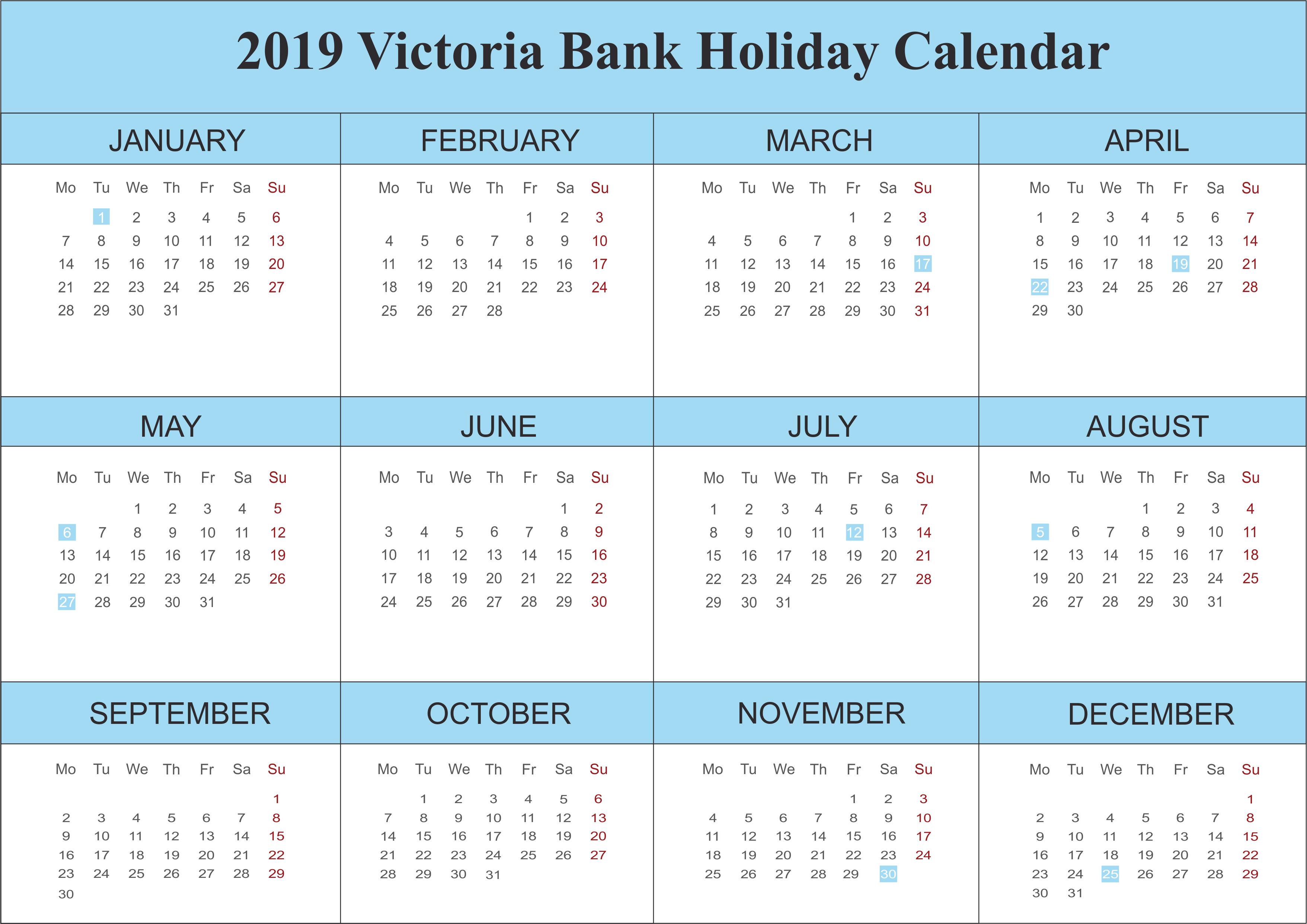2019 Victoria Blank Holidays Calendar Template