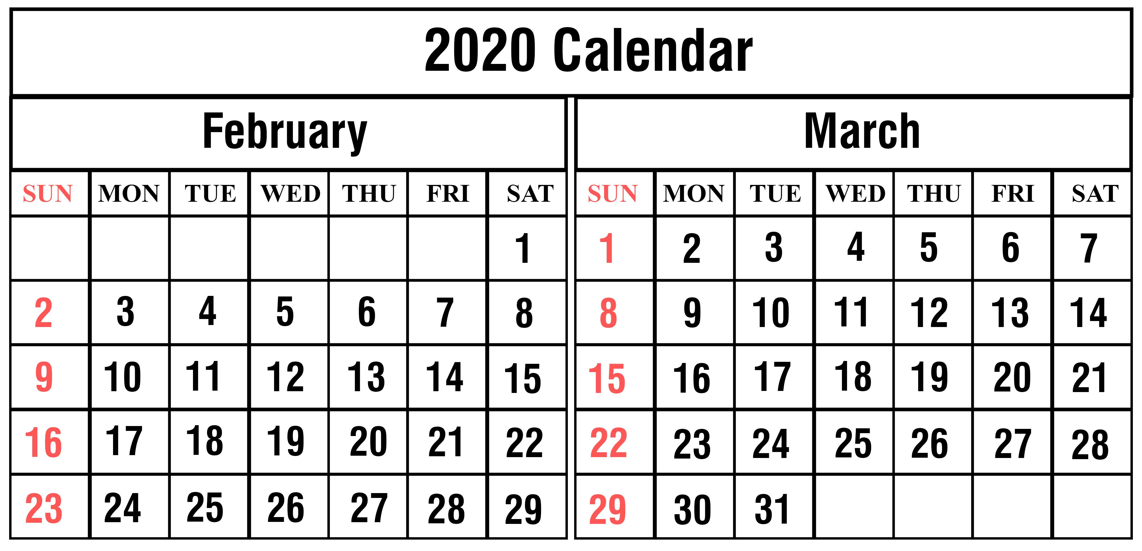 2020 Calendar February March 2020
