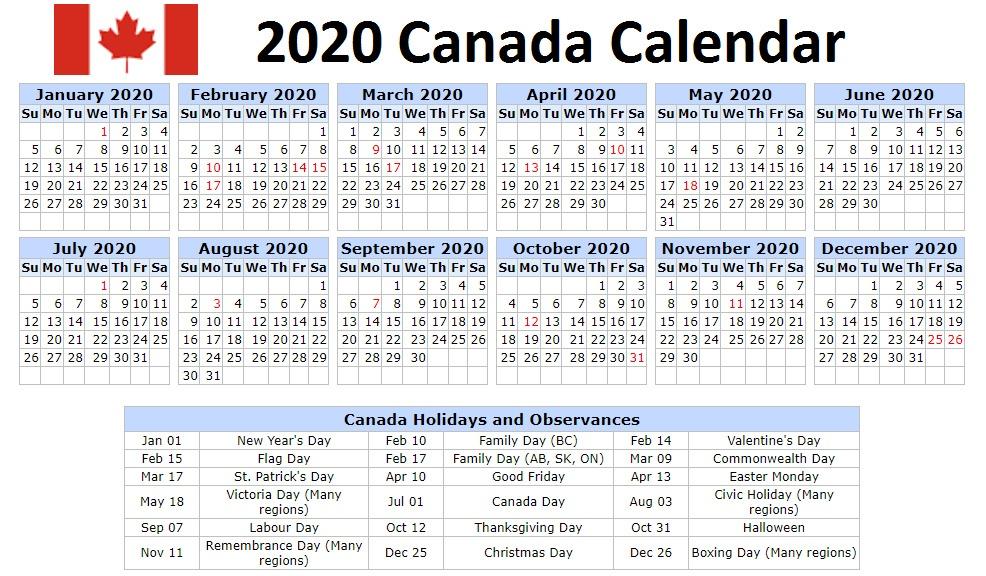 2020 Canada Holidays Calendar Printable