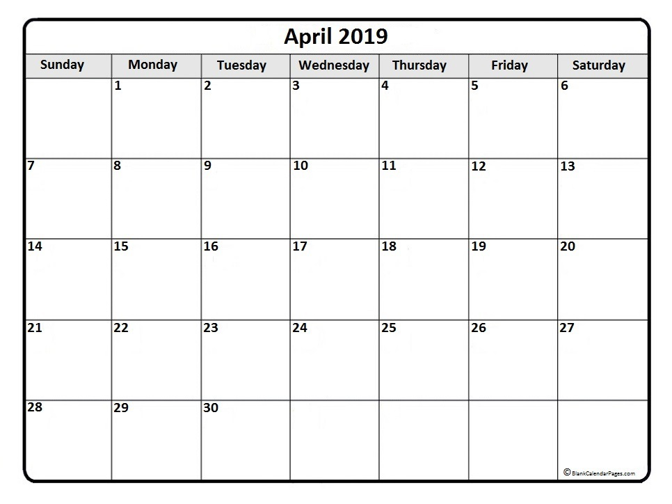 April 2019 Calendar Printable Templates