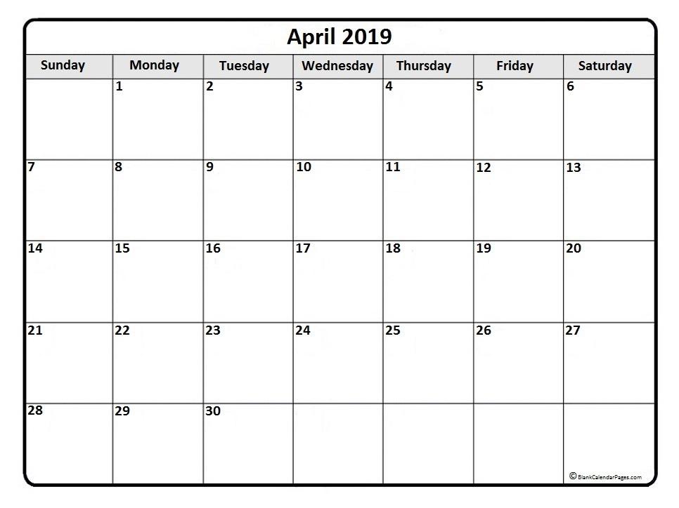 April 2019 Calendar Printable Templates