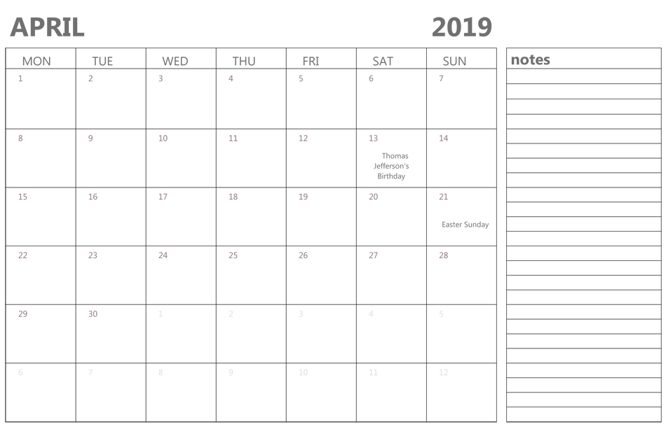 April 2019 Holidays Calendar With Notes
