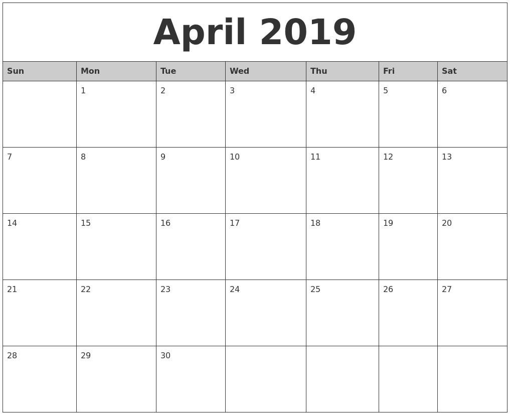 April 2019 Monthly Calendar Template