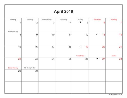 April 2019 Moon Phases Calendar