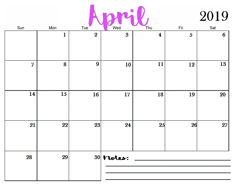 April 2019 Wall Calendar - Free Printable Calendar, Templates and ... uricompare.com April 2019 Wall Calendar