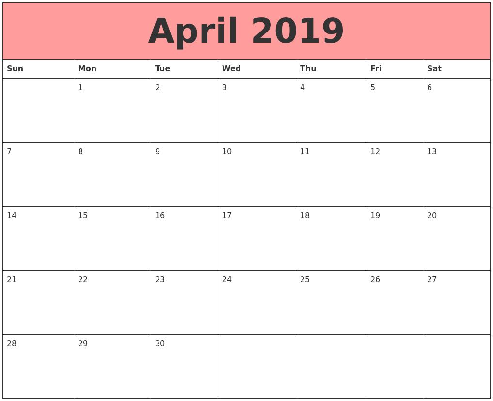 April Calendar 2019