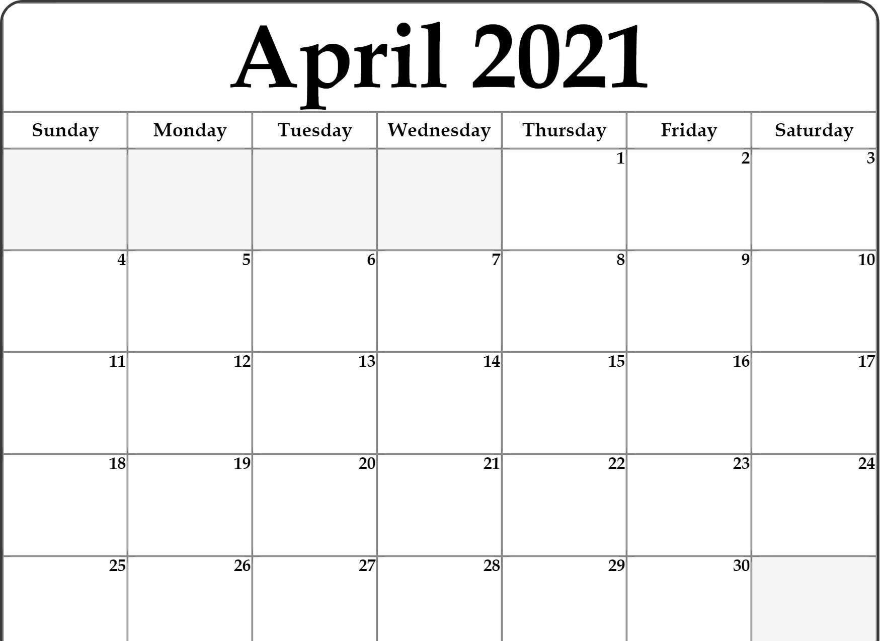 April 2021 Calendar Printable Template in PDF Word Excel