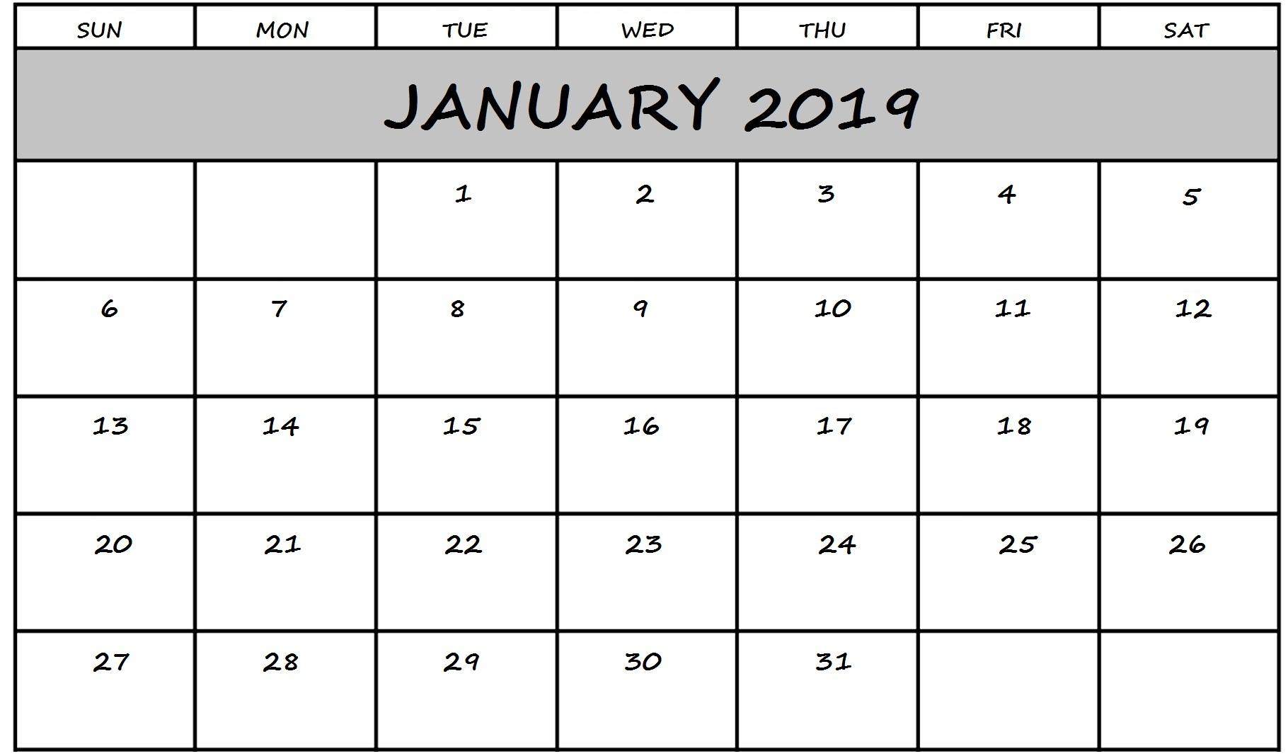 Blank Calendar January 2019 Monthly Planner Template