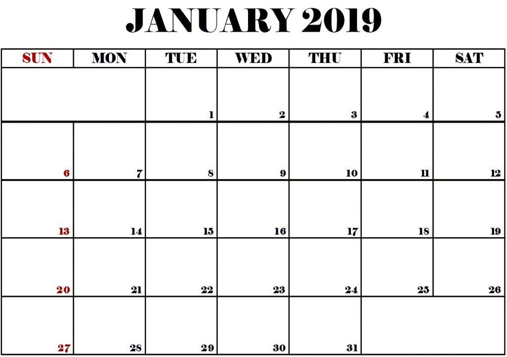 Blank Calendar January 2019