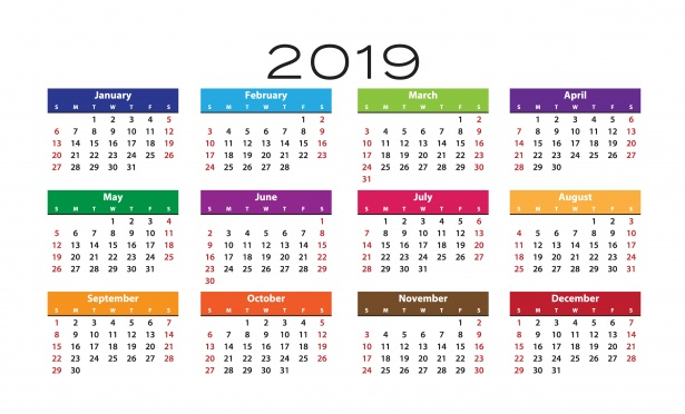 Blank Calendar Template 2019